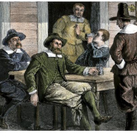 Puritans-drinking-from-pewter-mugs-in-colonial-massachusetts